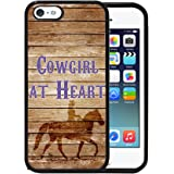 Brown Wood Cowgirl at Heart Cowgirl on Horse Apple iPhone 5/5s/5G Rubber TPU Silicone Phone Case