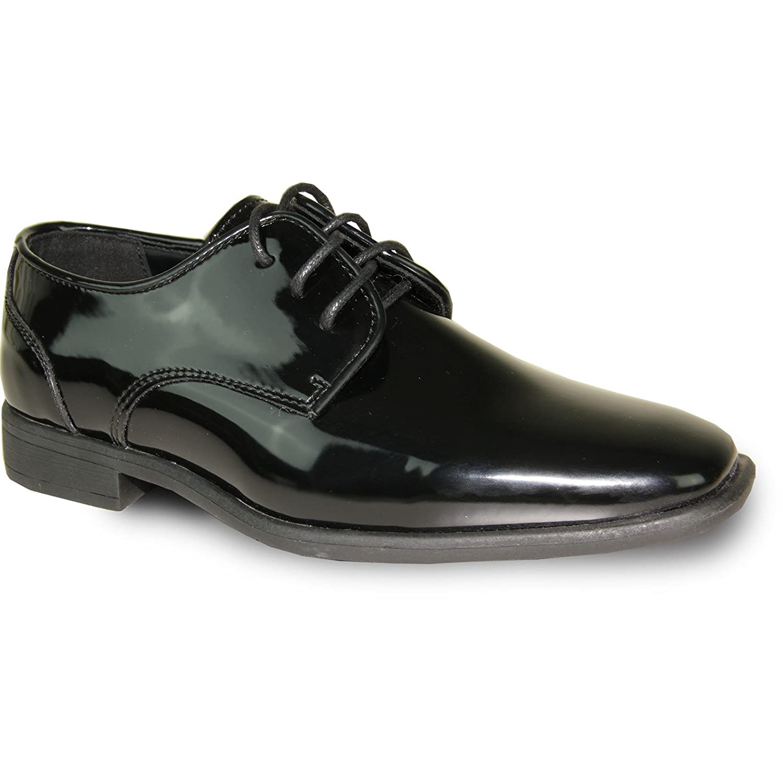 VANGELO Boy Tuxedo Shoe TUX-2K Fashion Plain Pointy Square Toe Designed for Wedding and Formal Events