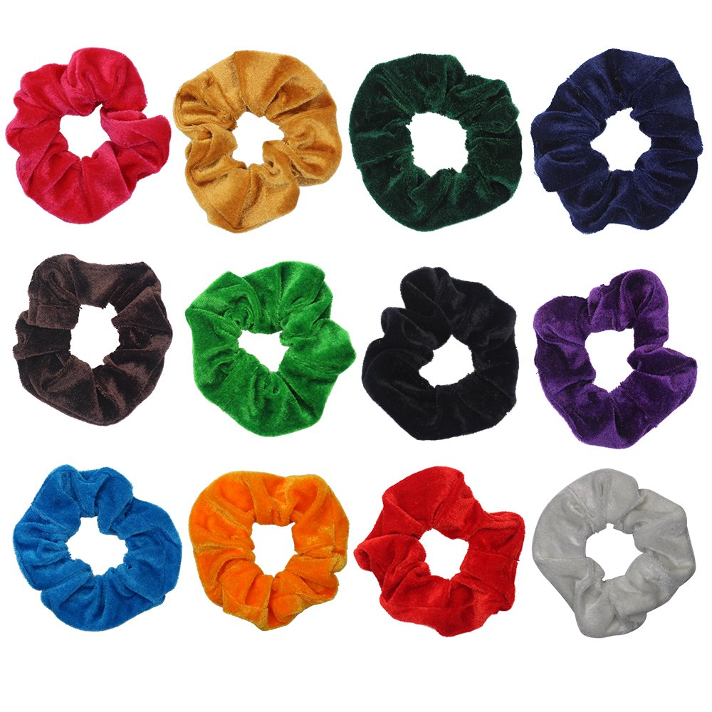 M-Aimee 12 Pack Hair Scrunchies Velvet Elastics Hair Ties Bright Colorful Scrunchy Bobbles Bands, 12 Colors Elastics Hair-12