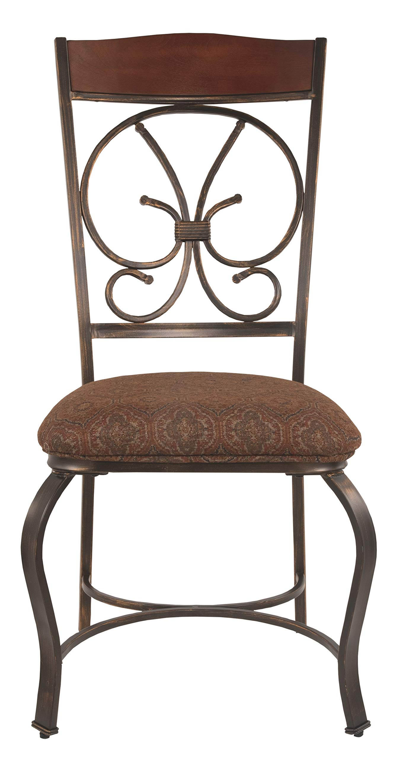 Ashley Furniture Signature Design - Glambrey Dining Room Chair Set - Scrolled Metal Accents - Set of 4 - Brown by Signature Design by Ashley (Image #3)