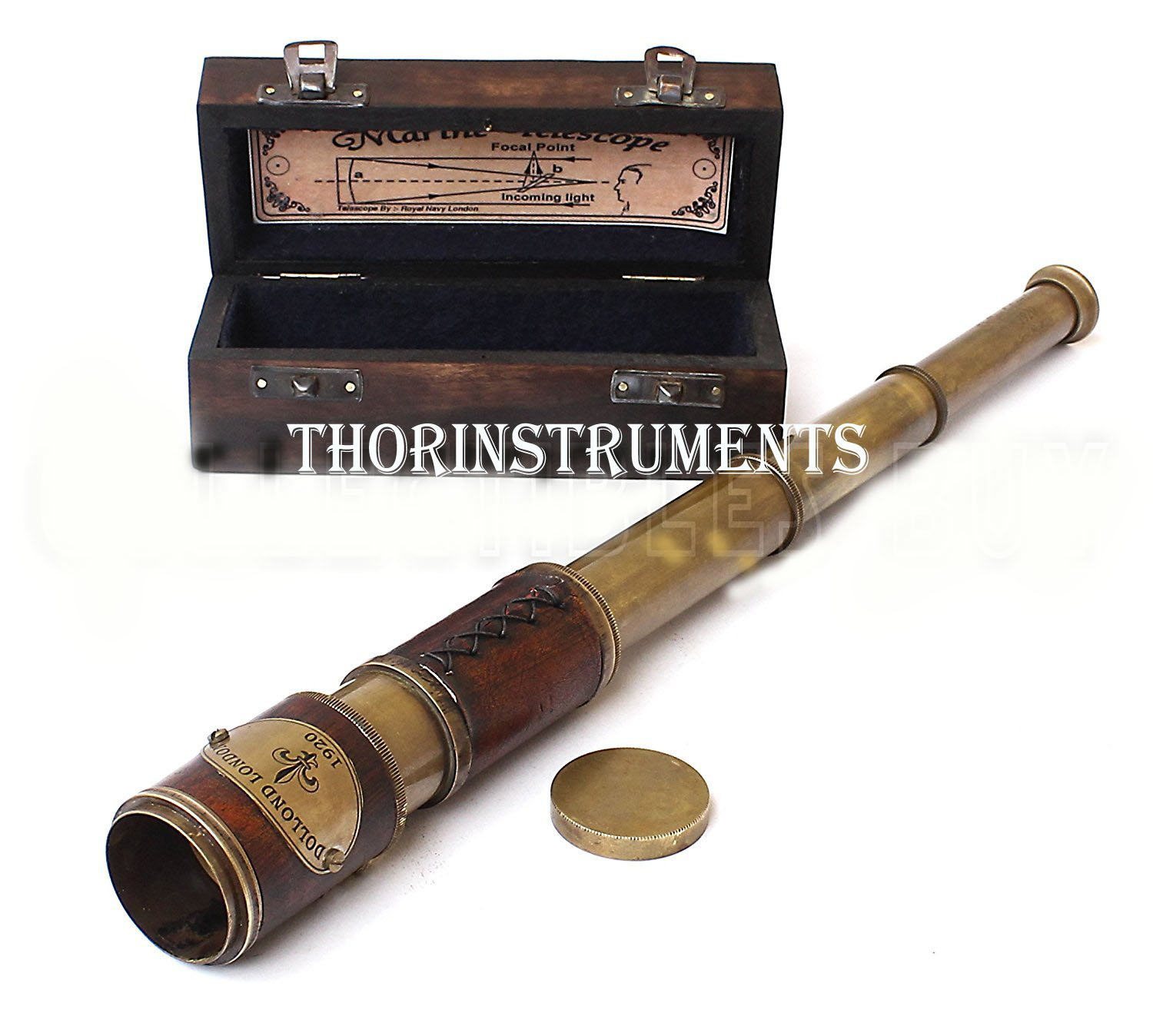 Brass & Leather Sailor Look Brass Antique Sea Marine Telscope by THORINSTRUMENTS (with device) (Image #1)