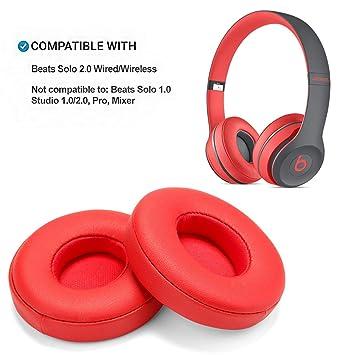 Reemplazo de Almohadillas, WADEO 2 Piezas Cojín de Almohadillas de Espuma para Beats Solo 2.0 Auriculares con Cable/inalámbricos(Rojo-Inalámbrico): ...