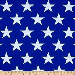 """E.Z Fabric"""" Poly Spandex Jersey Knit Stars Print, Royal/White"""