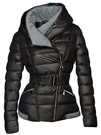 39279c7a343 Designer Women s Winter Short Quilted Ski Jacket with Down Look and Hood -  Black -