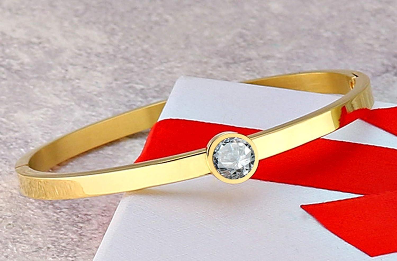 Aooaz Bracelet Stainless Steel Cuff Bracelet Single Round Cubic Zirconia Bracelet for Women