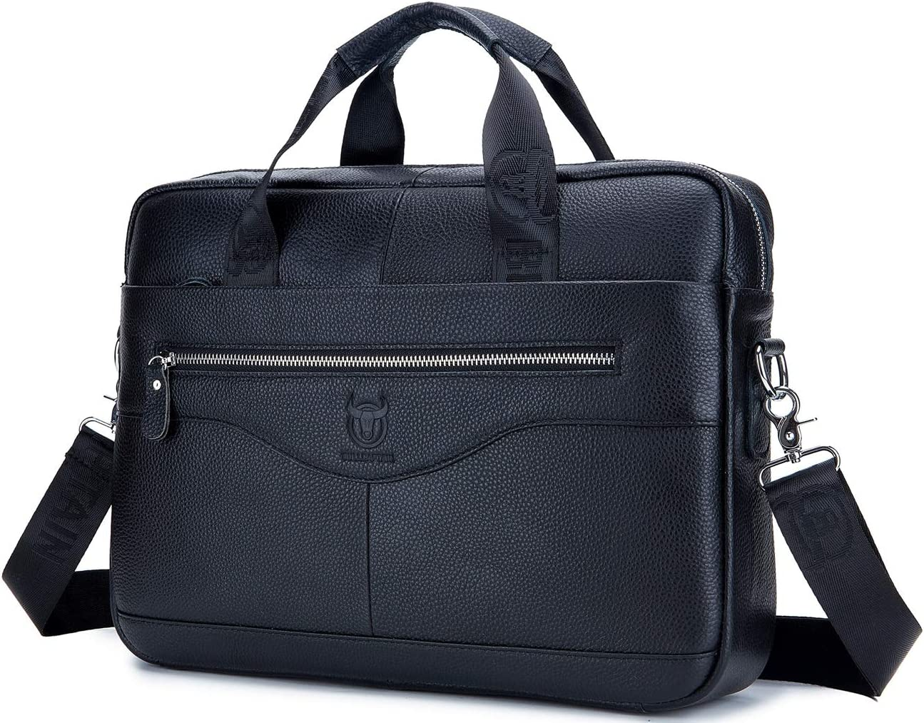 BULLCAPTAIN Men Genuine Leather Briefcase Laptop Shoulder Bag Business Handbag
