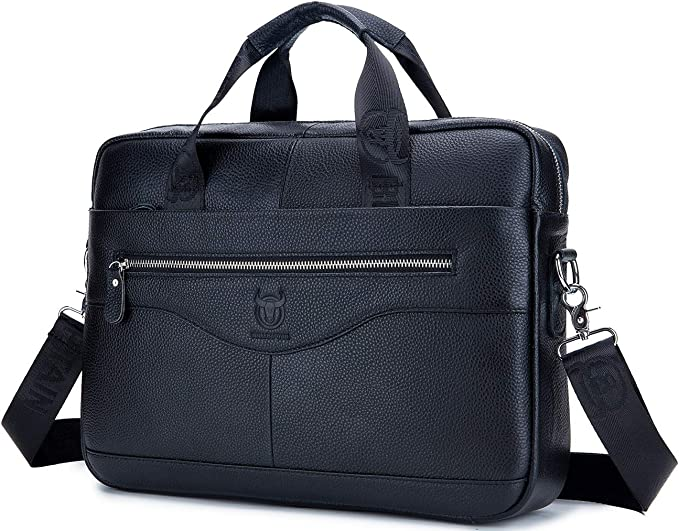 """Vintage Bull Leather Tote Mens Briefcase Laptop 18/"""" Case Messenger Shoulder Bag"""