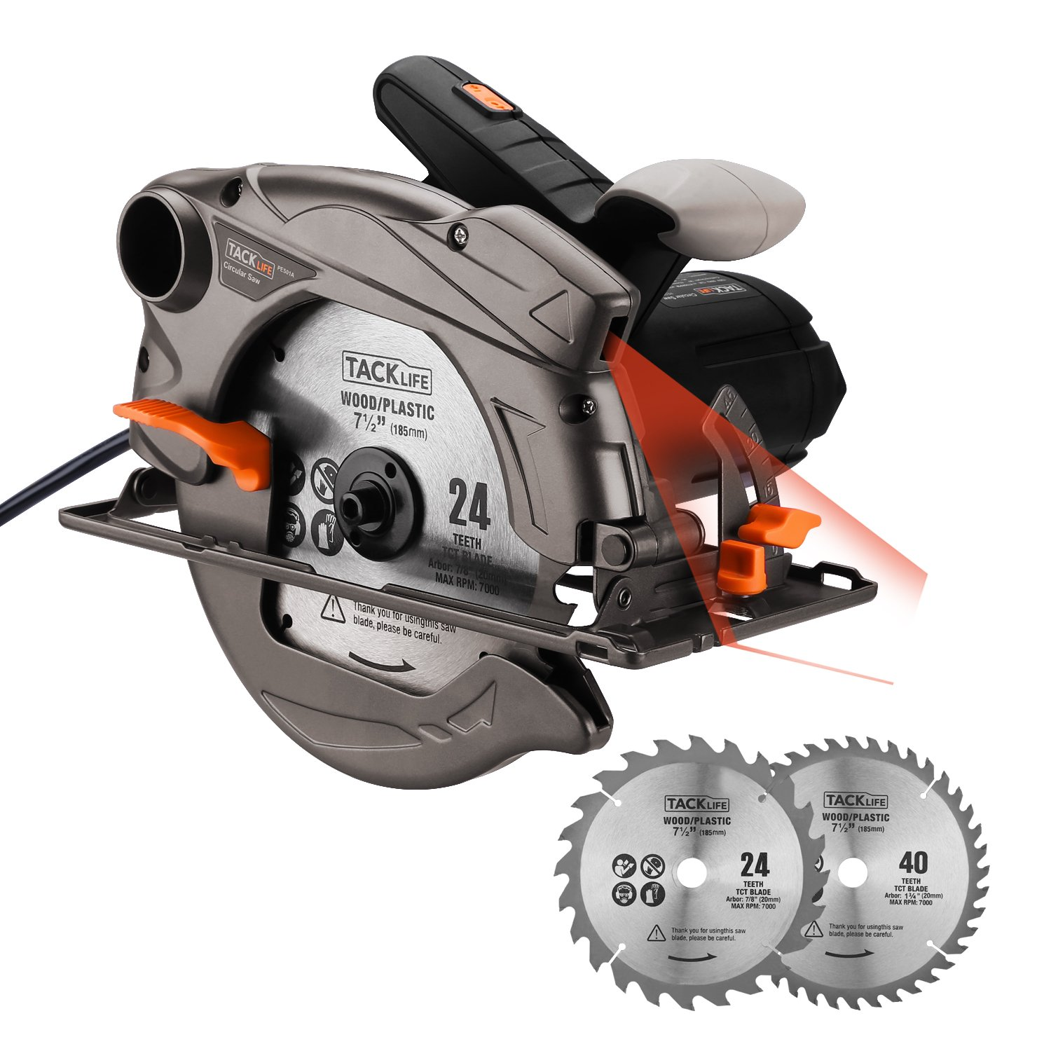 Tacklife 7-1/4 inch Circular Saw with Laser Guide