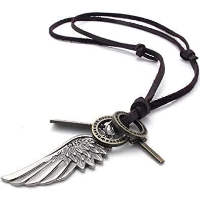 26cff14408adb MENDINO Jewellery Mens Vintage Style Angel Wing Cross Pendant Genuine  Leather Necklace Chain Colour Brown Silver (with Gift Bag)