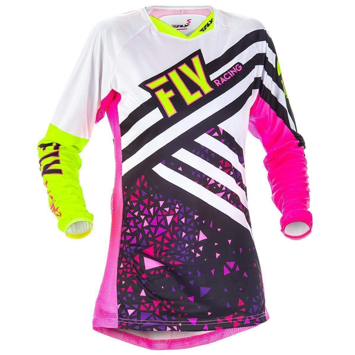 Fly Racing Men's Kinetic Jersey (Neon Pink/Hi-Vis, Youth Medium) 371-629YM