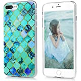 Badalink iPhone 8 plus Case, iPhone 7 plus Case - TPU Rubber Skin Bumper Case Shockproof Flexible Easy Grip with Cute Floral Painting Ultra Slim Protective Cover for iPhone 7 Plus/8 plus - Green Grids