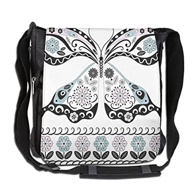 Lovebbag Butterfly Shape With Black Borders And Indian Style Details Floral Artprint Crossbody Messenger Bag