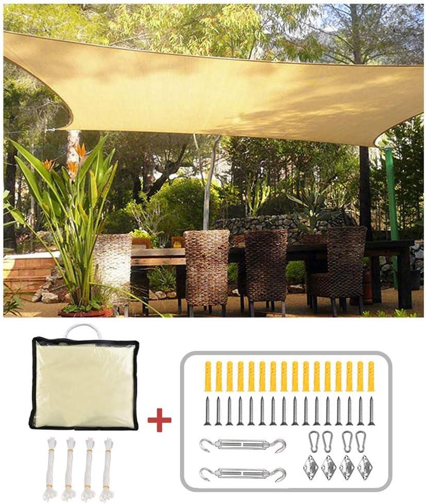 XLINGZ Toldo de Vela Rectangular Protección Rayos UV Shade Kit Terraza - Beige 3.5x5.5m: Amazon.es: Hogar
