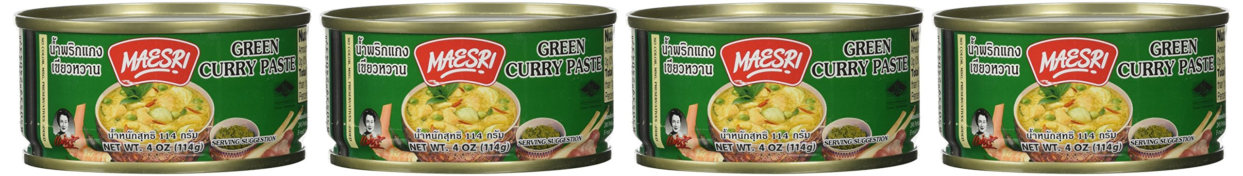 Maesri Thai Green Curry Paste - 4 Oz (Pack of 4)