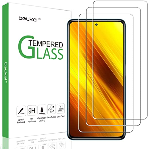 (3 Pack) Beukei Screen Protector Compatible for Xiaomi Poco X3 NFC Screen Protector Tempered Glass, 9H Hardness, Anti Scratch, Bubble Free