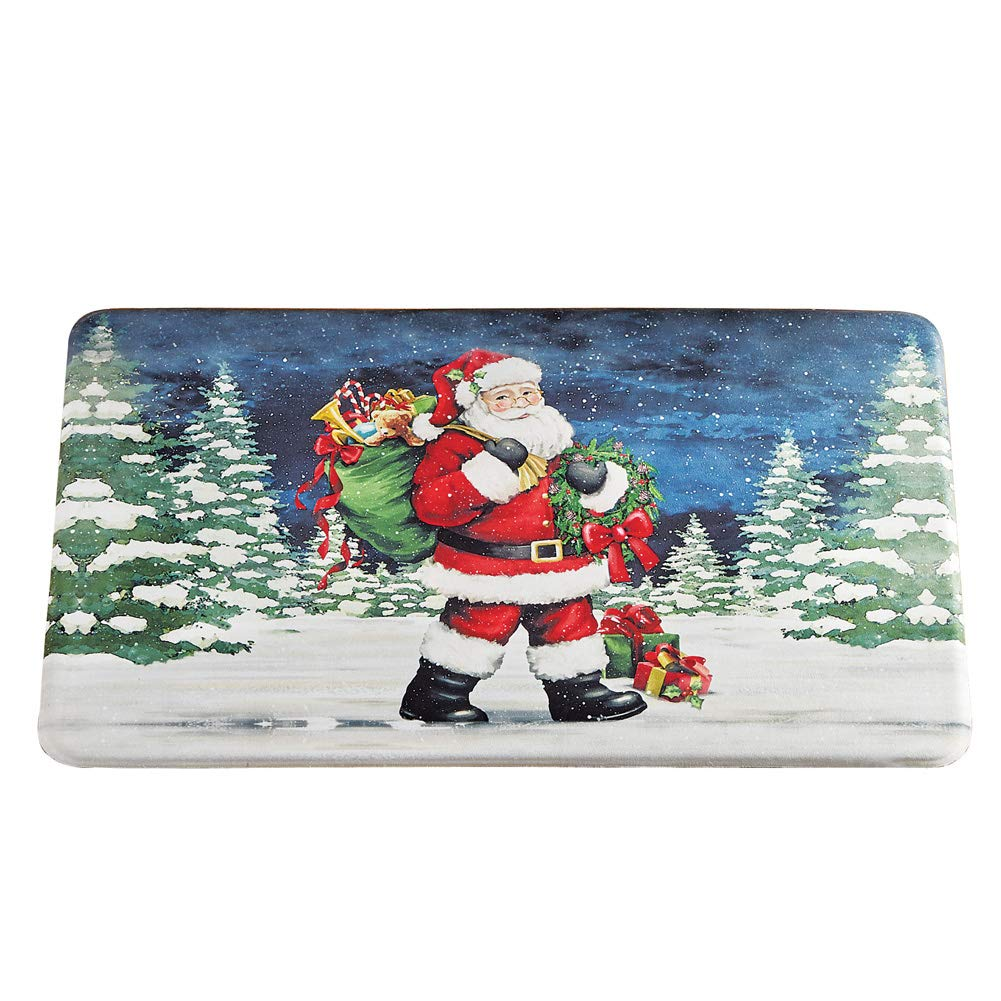 Collections Etc Santa Claus Decorative Anti-Fatigue Standing Mat, Perfect for Holiday Cooking, Kitchen, Skid-Resistant.5 inches Thick Winston Brands