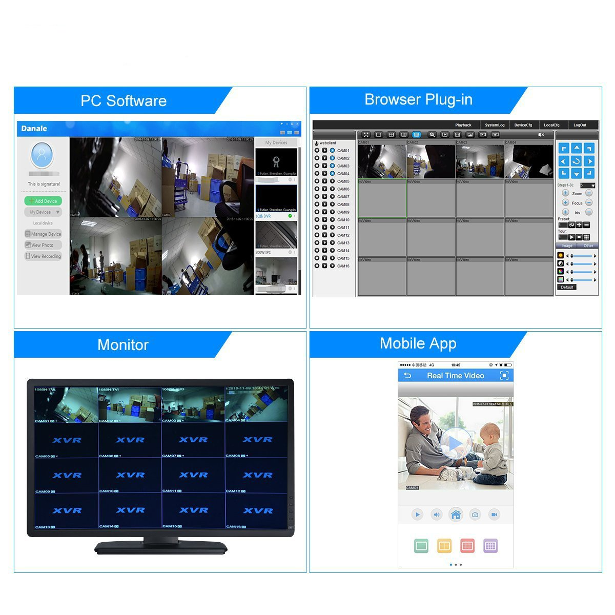 16 Channels DVR Recorder Hybrid DVR H.264 CCTV Security Camera System Digital Video Recorder(No hard drive included) by Abowone (Image #3)