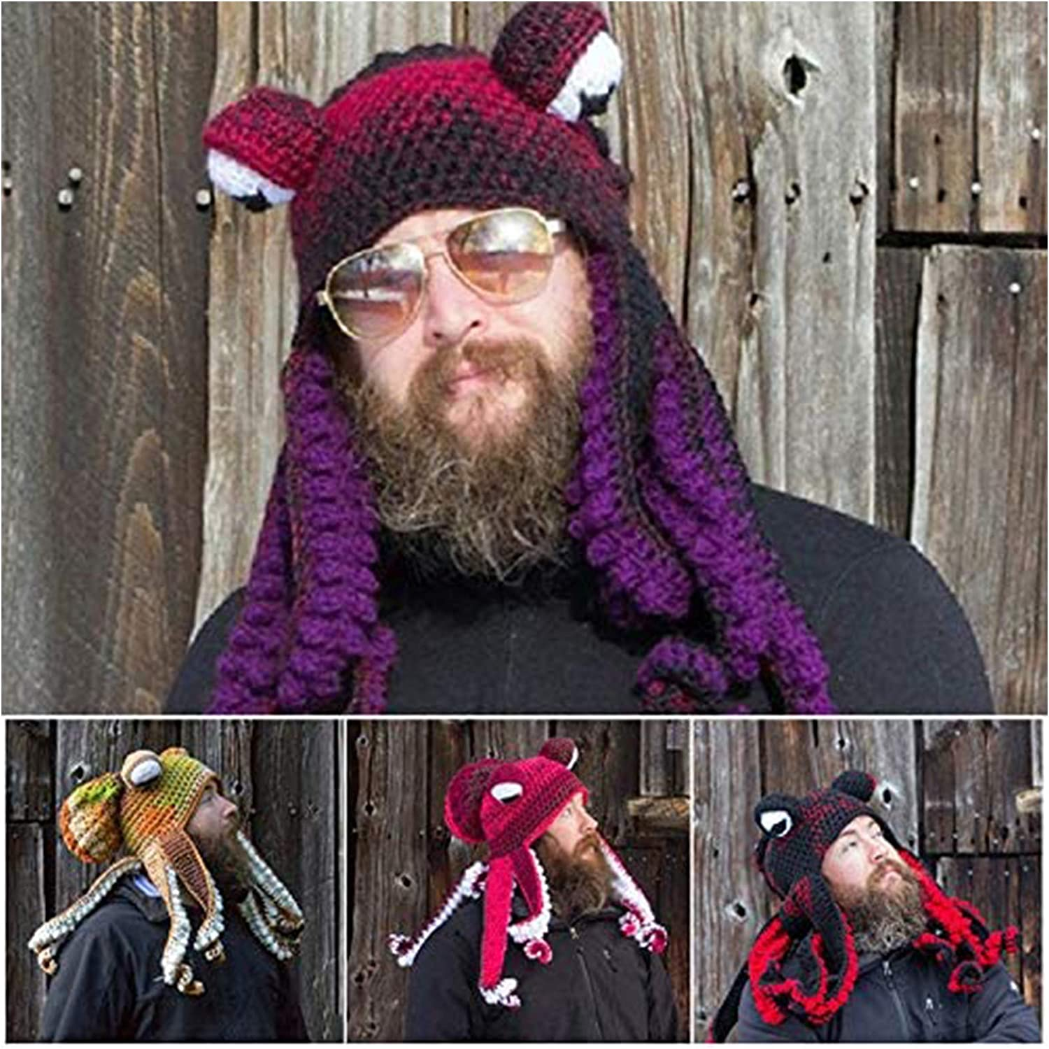GHJK Octopus Hat Hand Knitted Octopus Tentacle Hat Unique Soft and Warm Adult Party Costume for Christmas Halloween Cosplay Black red