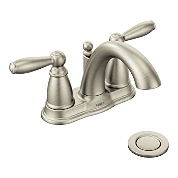 Moen 6610BN Brantford Brushed Nickel Two Handle High Arc Bathroom Faucet  With Drain Assembly,
