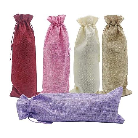CN-Culture 10 bolsas de yute para vino, 14 x 6 1/4 pulgadas ...