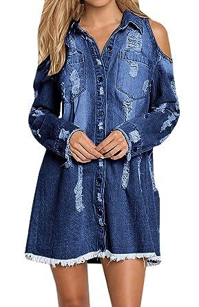 6f8e39aa6f Geckatte Women s Cold Shoulder Long Sleeve T-shirt Button Down Denim Shirt  Dresses (Small