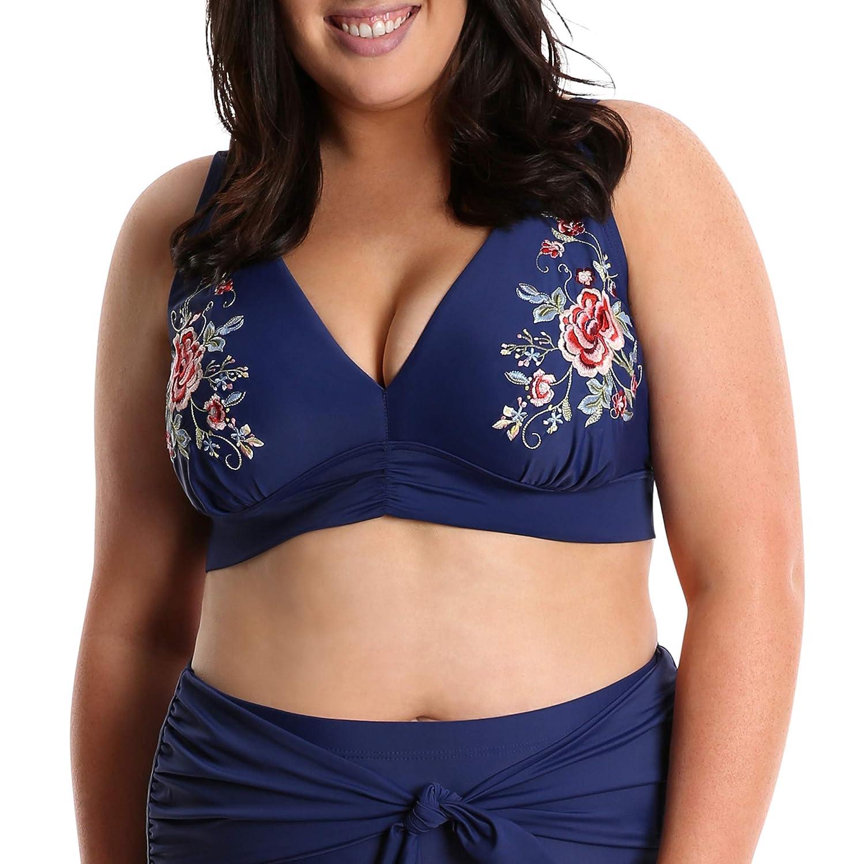 4ef50153e3b8 Amazon.com: Lysa Swimwear Plus Size 2 Pc Bikini Embroidered Swimsuit ...