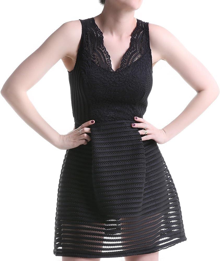 crazyinlove Mujer Vestido perforada negro L: Amazon.es: Ropa y ...