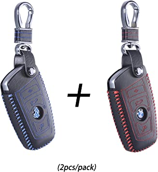 DKMUS for BMW 5 7 Series FOB Shell Key Chains Premium Quality Handmade Leather Key Cover for BMW F05 F10 F20 F30 Z4 X1 X2 X3 X4 M1 M3 e30 e36 e90 e60 e84 e39 e46 e90 e63 e53 Red