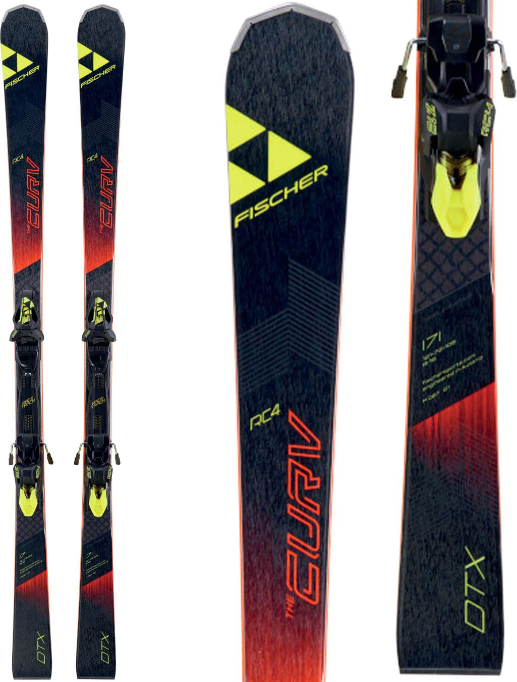 Fischer RC4 The Curv DTX Skis w/ RC4 Z12 Powerrail Bindings Mens