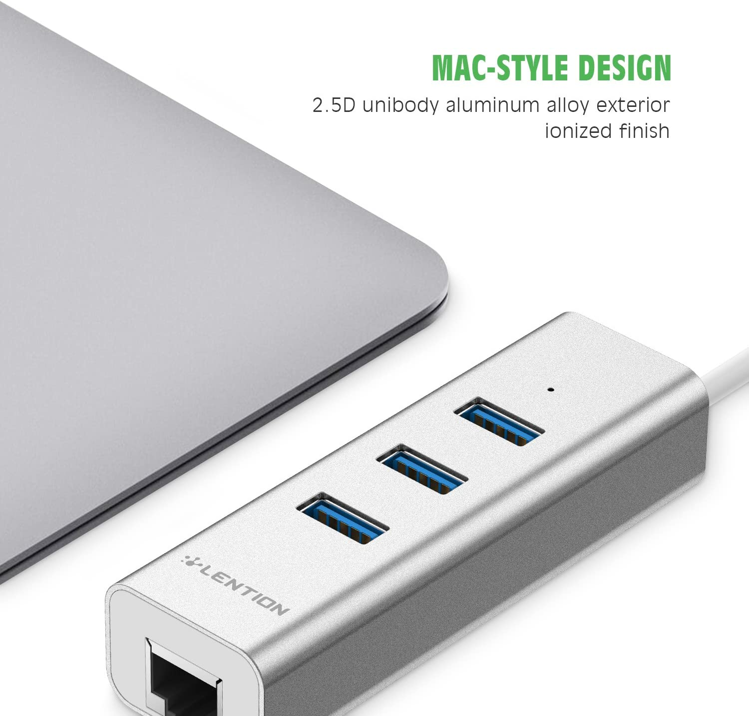 LENTION 3-Port USB 3.0 Hub with Ethernet Network LAN Adapter Compatible MacBook Air//Pro iMac Chromebook and Other Devices with USB Type A Port Previous Generation Surface Silver