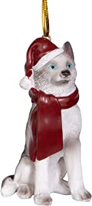 Design Toscano Siberian Husky Holiday Dog Christmas Tree Ornament Xmas Decorations, 3 Inch, Full Color