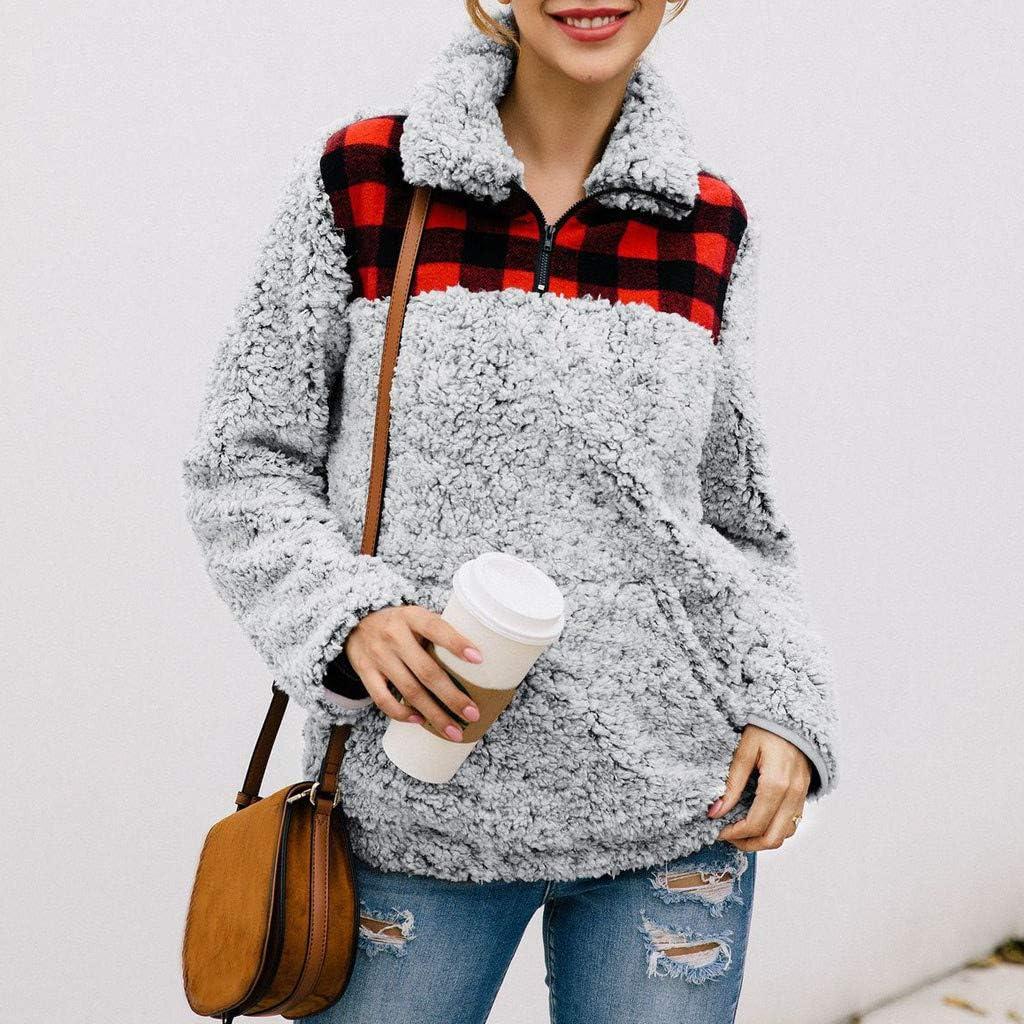 〓COOlCCI〓Plus Size Sherpa Pullover Womens Sweatshirt Half Zip Fuzzy Fleece Jacket Winter Coat Outwear Pockets Sweatshirt