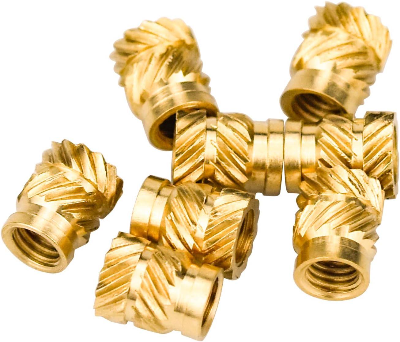 Casquillos Roscados de Lat/ón Insertos de Tuercas DESON 50pcs Tuercas M3x5.7mm