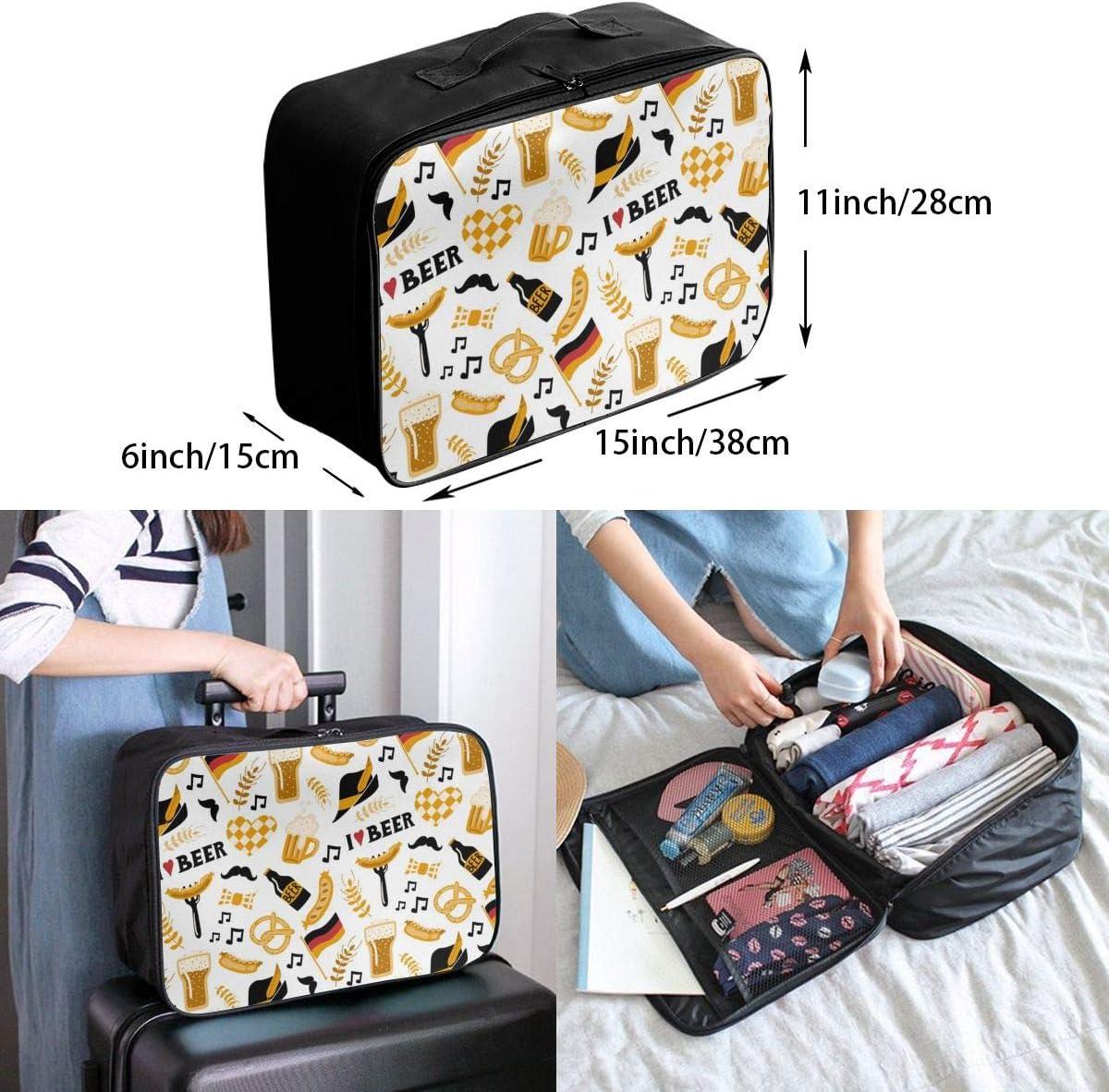 Oktoberfest Beer Pattern Lightweight LargeTravel Storage Luggage Trolley Bag Travel Duffel Bags Carry-On Tote