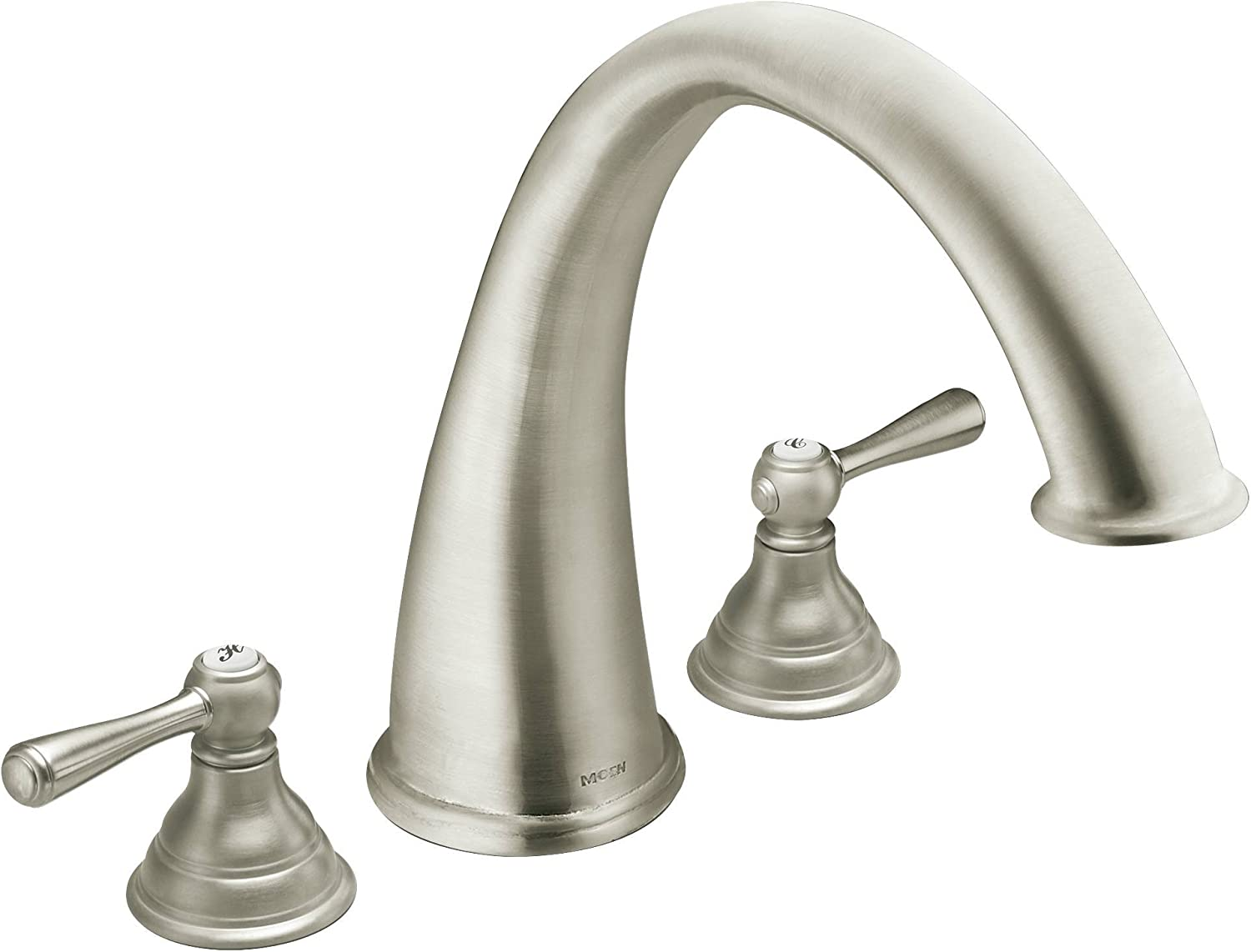 Moen T920bn Kingsley Two Handle Deck Mount Roman Tub Faucet Trim Kit Valve Required Brushed Nickel Tub Filler Faucets Amazon Com