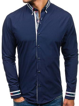 BOLF Herren Hemd mit Knopfleiste Slim Fit 6961 Dunkelblau S [2B2]