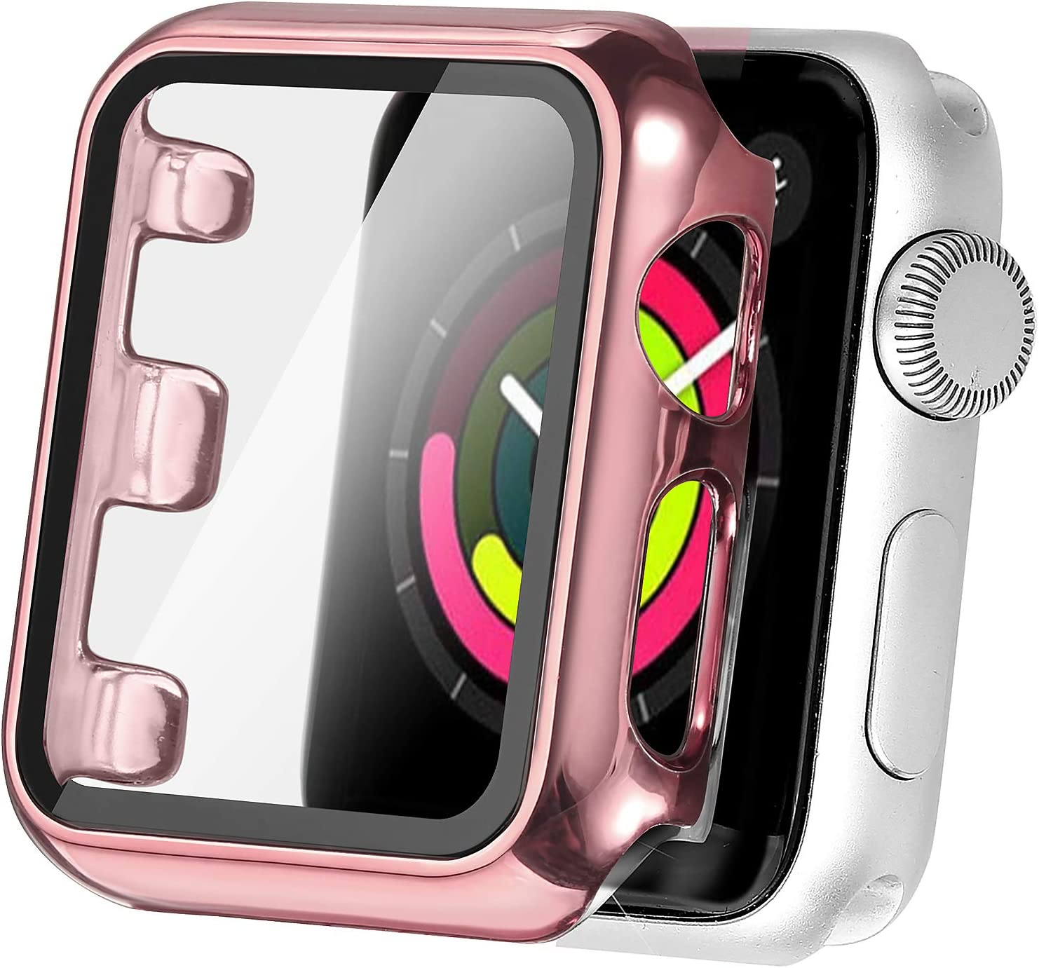 Secbolt 38mm Case Compatible Apple Watch Series 1 Series 2 Series 3 with Built in Tempered Glass Screen Protector- All Around Protective Case for Apple Watch Series 3/2/1 38mm (Rose Pink)