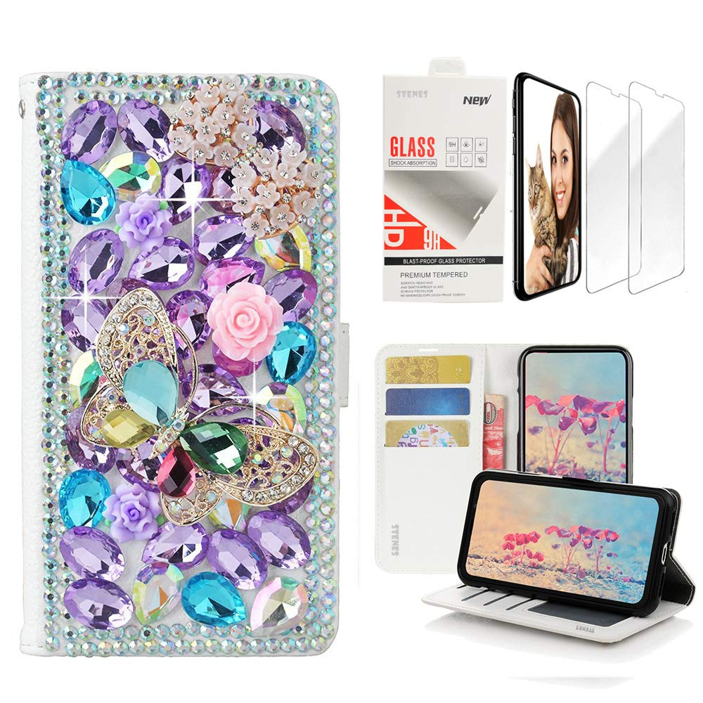 STENES Bling Wallet Case Compatible with iPhone Xs Max - 3D Handmade Butterfly Bowknot Flowers Design Leather Case with Wrist Strap & Screen Protector [2 Pack] - Light Purple
