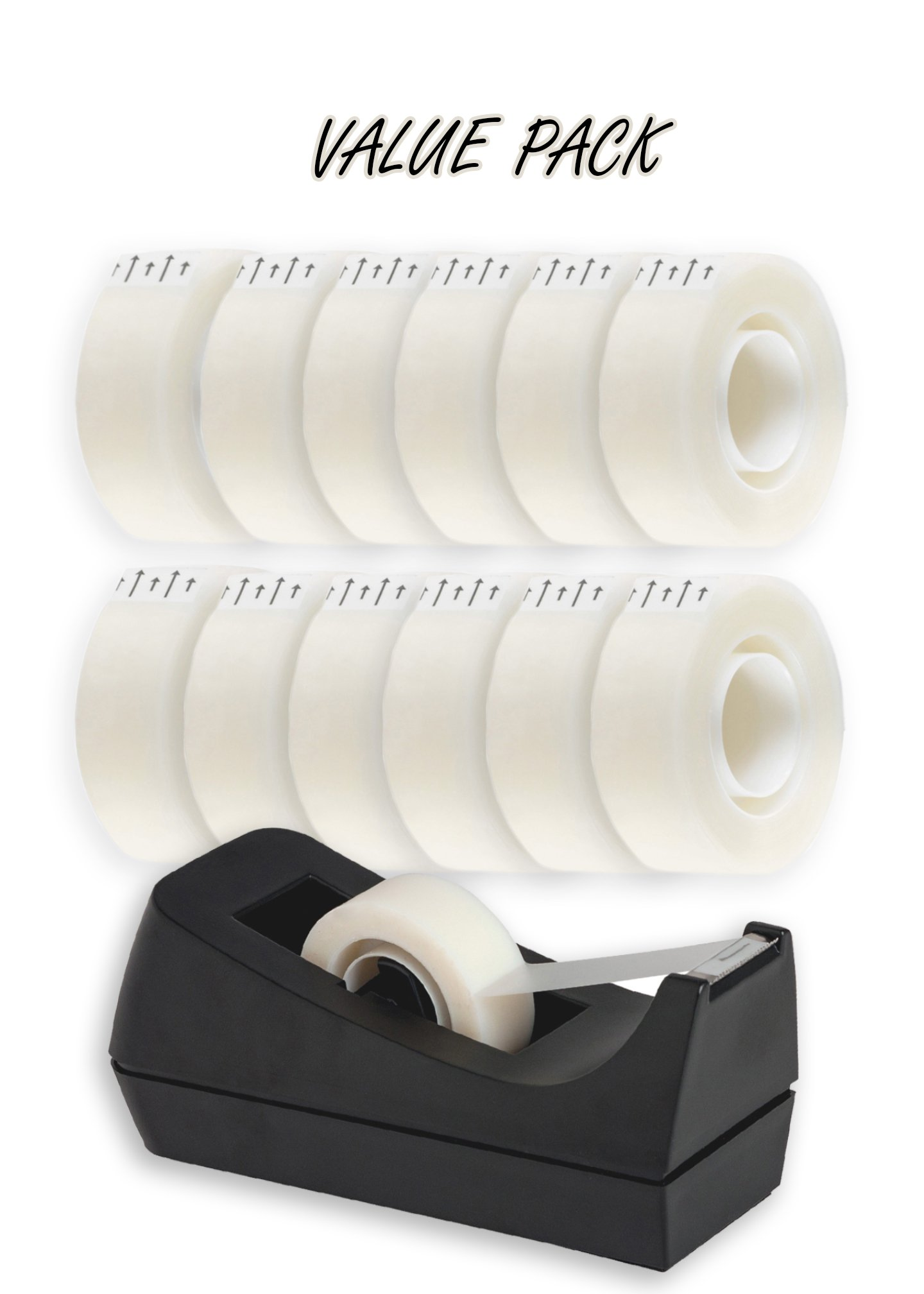 Desktop Tape Dispenser, Non-skid Base - With 12 Premium Rolls Invisible Clear Tape, Perfect For Office, Home, School - Value Pack