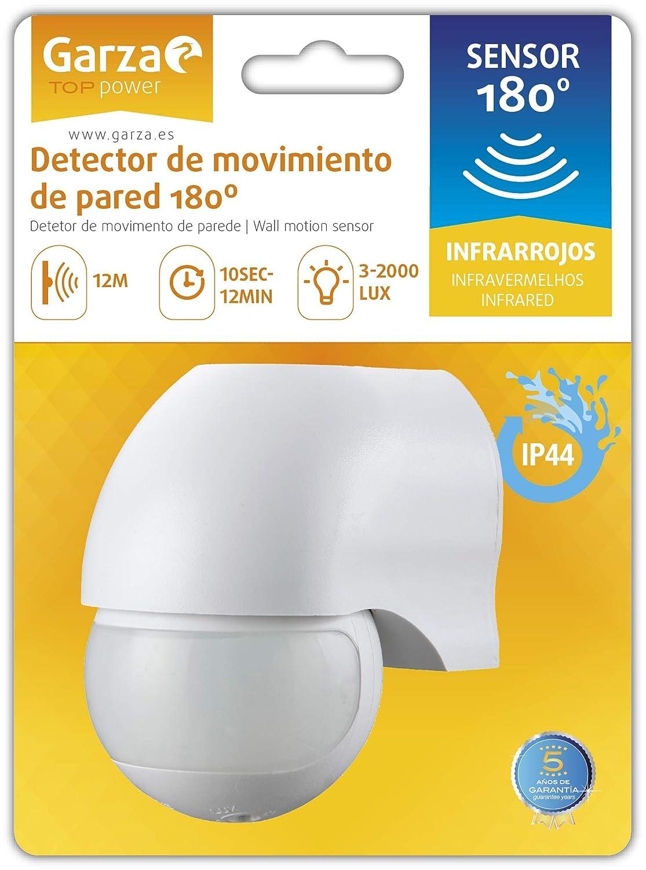 Garza 430042 Power-Detector de Movimiento Infrarrojo de Pared, Ángulo de Detección 180º, Blanco: Amazon.es: Bricolaje y herramientas