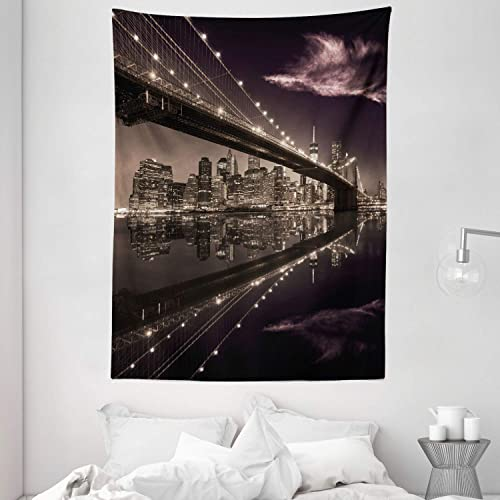 Ambesonne Landscape Tapestry, Brooklyn Bridge Sunset NYC View Skyline Tourist Attraction Modern City, Wall Hanging for Bedroom Living Room Dorm, 60 X 80 , Brown Rose