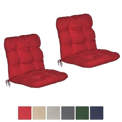 Beautissu Flair NL - Set de 2 Cojines para sillas de balcón o Asientos Exteriores con Respaldo bajo - 100x50x8 cm - Rojo