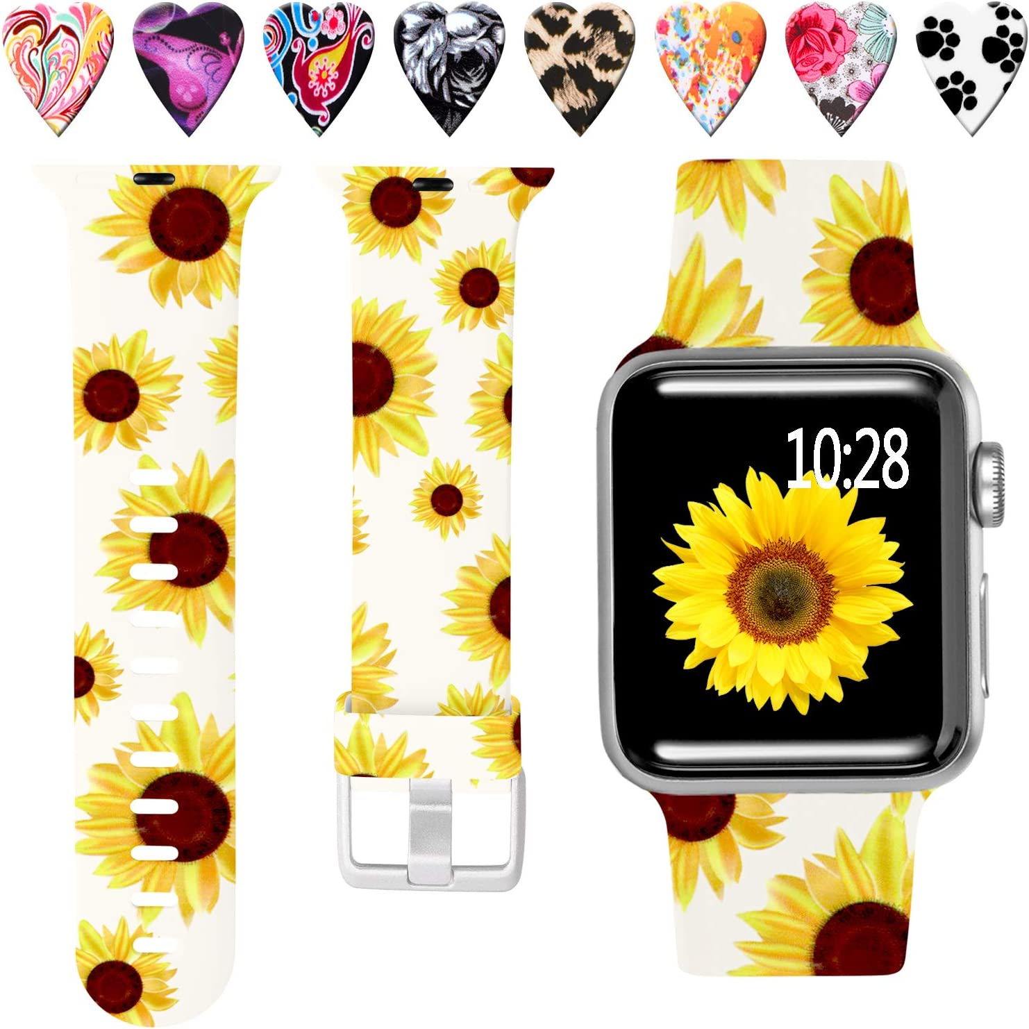 Laffav Compatible with Apple Watch Band 40mm 38mm iWatch SE & Series 6 & Series 5 4 3 2 1 for Women Men, Sunflower, S/M