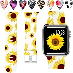 Laffav Compatible with Apple Watch Band 42mm 44mm iWatch SE & Series 6 & Series 5 4 3 2 1 for Women Men, Sunflower, S/M