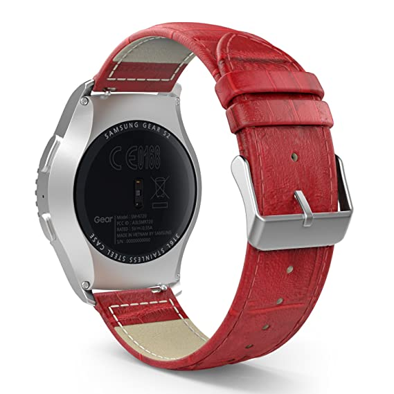 MoKo Gear S2 Classic/Gear Sport Watch Band, Leather Crocodile Pattern  Replacement Strap for Samsung Gear S2 Classic SM-R732, R735, Gear Sport  SM-R600,