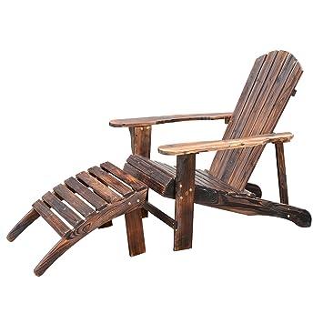 fauteuil de jardin adirondack chaise longue chaise plage avec ... - Chaise Longue Jardin Bois