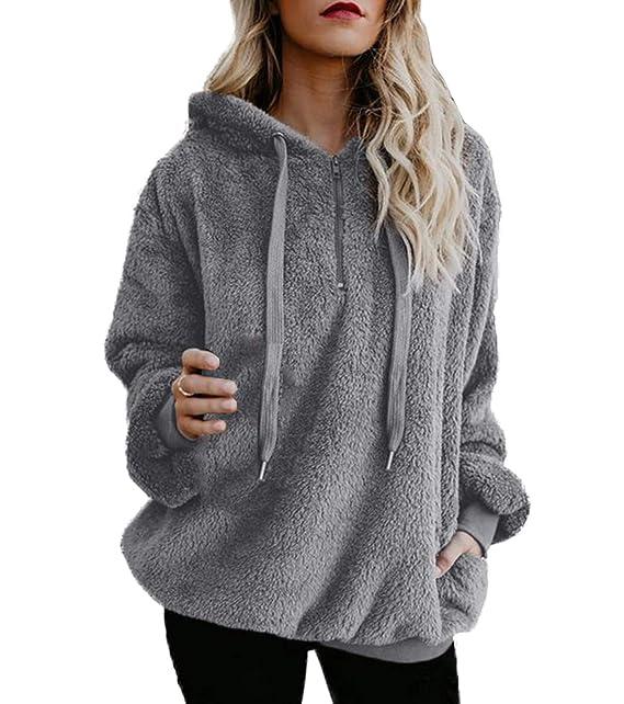 Otoño Invierno Mujeres Sudaderas Moda Sherpa Pulóver Hoodie Blusa Jumpers Sweater Casual Tops de Manga Larga Sweatshirt Jerseys con Capucha Suéter Blouses: ...