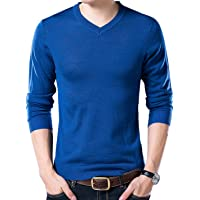 Yeokou Men's Slim V Neck Winter Wool Cashmere Pullover Jumper Sweater