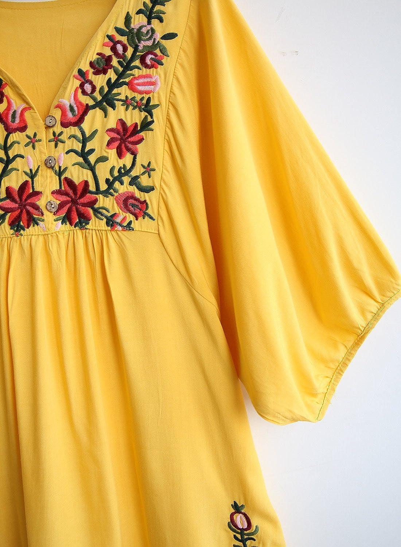 Doballa Damen Boho Tunika Hippie Kleid Gestickt Blumen Mexikanische Bluse