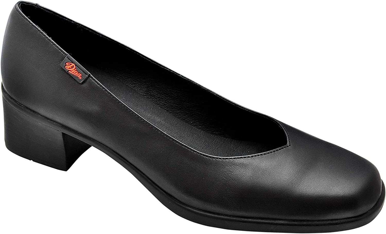 Marca DIAN Salon-7 Zapato sal/ón Mujer Uniformes en Piel Color Negro